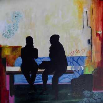 To på en bænk 1 by Elsebeth Altschuler | maleri