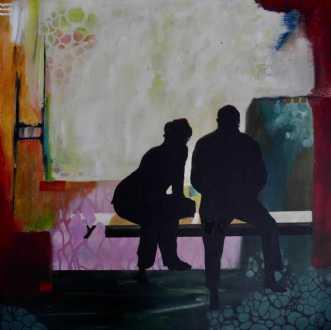 To på en bænk  2 by Elsebeth Altschuler | maleri