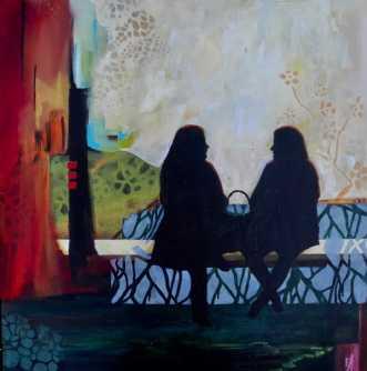 To på en bænk  3 by Elsebeth Altschuler | maleri