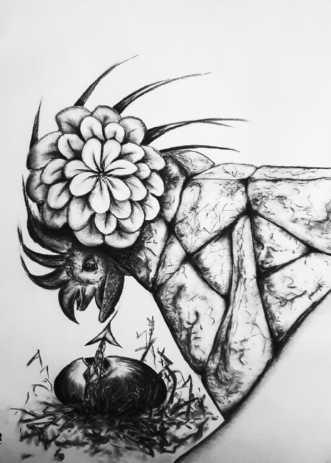 Nyklækket basilisk by Gitte Marie Michelsen | tegning