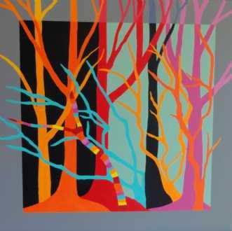 Røde træer by Kirsten Fagerli | maleri
