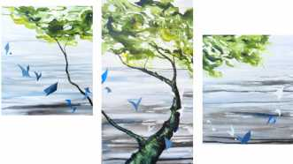 Tree in Three / Blue fragments af Charlotte Bøgh Aagaard