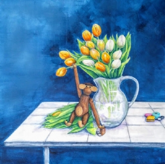Gule tulipaner..  o.. by Kirsten Adrian | maleri