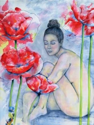 Bag valmuer by Kirsten Adrian | maleri