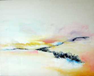 Åbent landskab 3 by Kirsten Adrian | maleri