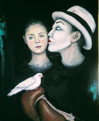 Turtelduer i boksek.. by Kirsten Adrian | maleri