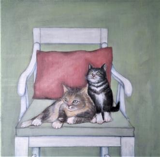 Det var kattens .. .. by Kirsten Adrian | maleri