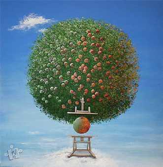 'NEWTONS ÆBLE' by Jette Nørager | maleri