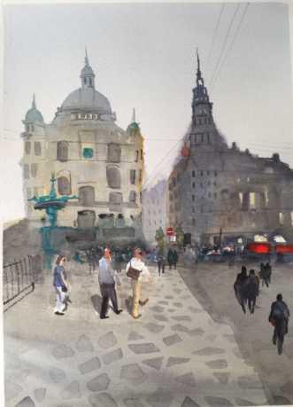 Amager torv by Kamilla Ruus | maleri
