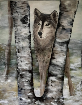 Wolf in Winter  by Tina Lund Christiansen | maleri