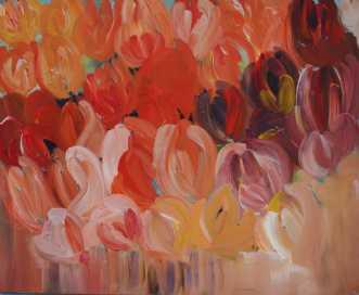 Tulipaner i min hav.. by Kirsten Herse | maleri