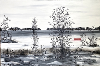 The bench by Henrijete Elmkjær | maleri