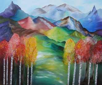 Mountain Landscape .. by Mette Hansgaard | maleri