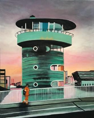 På vej hjem over Kn.. by Sanne Rasmussen | maleri