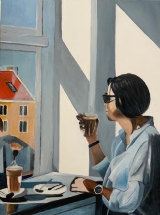 Morgenkaffe i Køben.. by Sanne Rasmussen | maleri