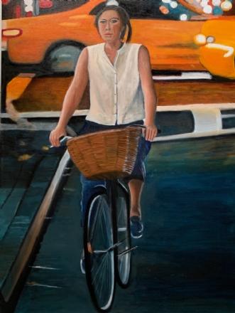 Pigen på cyklen II by Sanne Rasmussen | maleri
