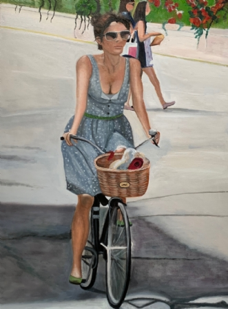 Pigen på cyklen III by Sanne Rasmussen | maleri