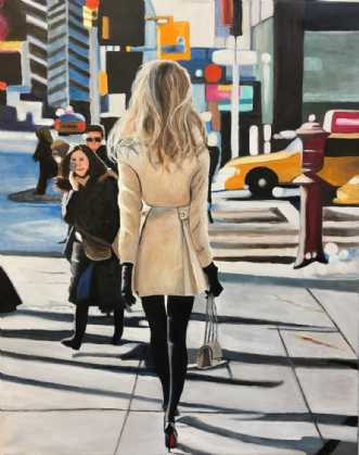 Balance på røde sål.. by Sanne Rasmussen | maleri