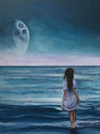 Pigen og manden i m.. by Sanne Rasmussen | maleri