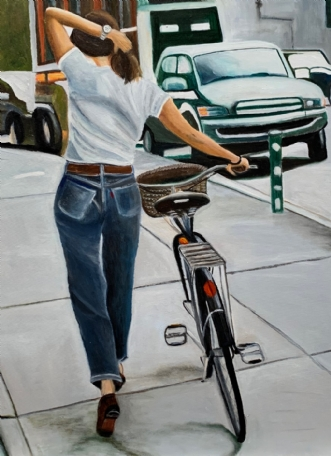 Pigen med cyklen by Sanne Rasmussen | maleri