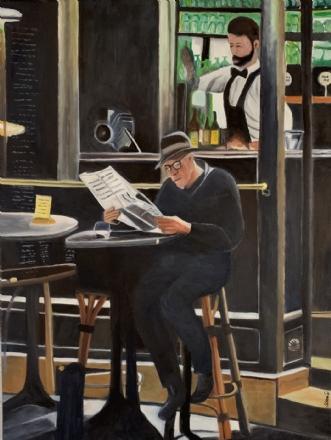 Avislæsning i baren by Sanne Rasmussen | maleri