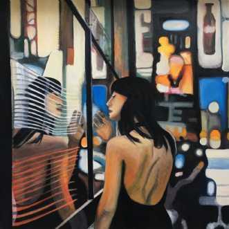 Nat i byen by Sanne Rasmussen | maleri