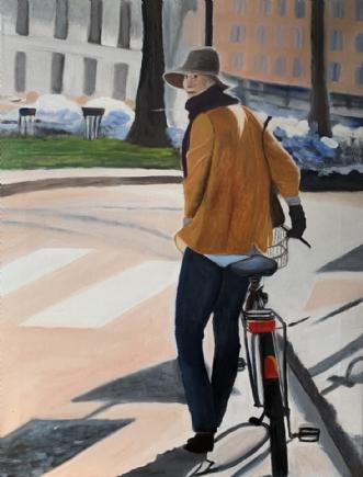 pigen med cyklen IV by Sanne Rasmussen | maleri