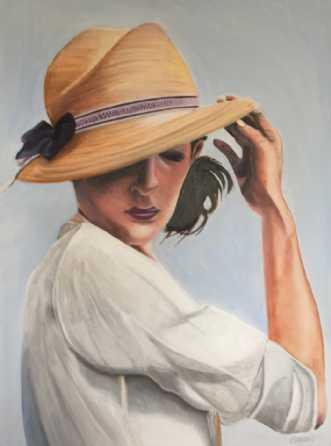 Ny sommerhat by Sanne Rasmussen | maleri