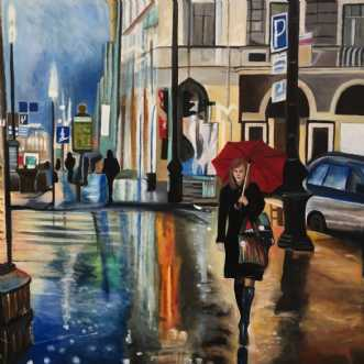 I byens lys by Sanne Rasmussen | maleri