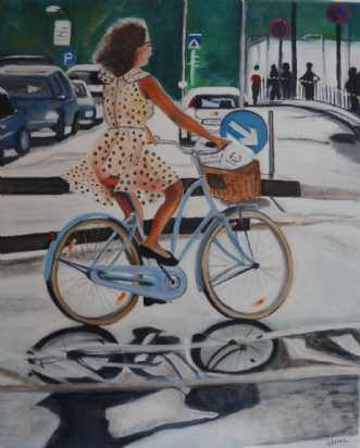 Pigen på den blå cy.. by Sanne Rasmussen | maleri