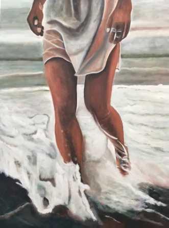 Langs vandkanten by Sanne Rasmussen | maleri