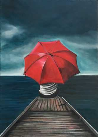Alene på broen by Sanne Rasmussen | maleri