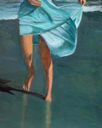 Pige på strand I by Sanne Rasmussen | maleri
