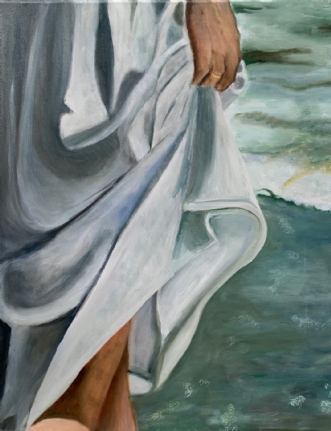 Pige på strand II by Sanne Rasmussen | maleri