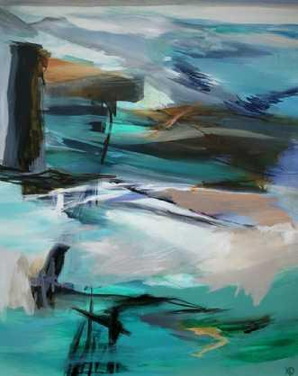 'Udsigt fra klippen.. by Kirsten Overgaard | maleri