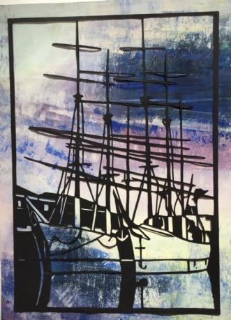 Havrebarker i havn by Else Sofie Munkholm Bager | tegning