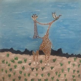 Giraf on the run by Lone Lopez Andersen   maleri