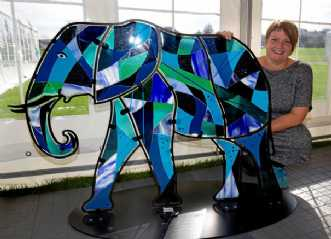 Blue elephant in gl.. by Ulla Tedaldi | diverse
