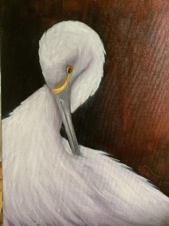 White Egret by Valeria Krynetskaya | maleri