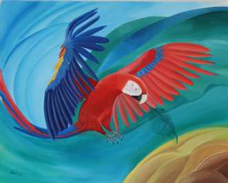 Scarlet Macaw's Mes.. by Valeria Krynetskaya | maleri