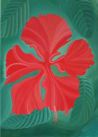 Red Hibiscus by Valeria Krynetskaya | maleri