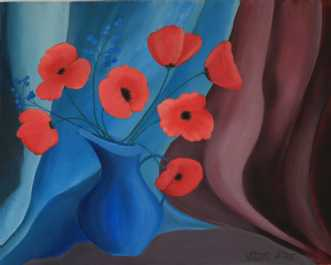 Poppies in a blue jug af Valeria Krynetskaya