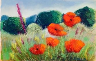 Poppies, Lyngby Lak.. by Valeria Krynetskaya | maleri