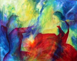 Modsætninger mødes by Helle Borg Hansen | maleri