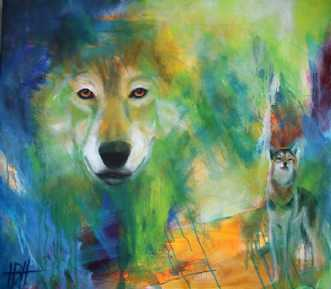 Ulven kommer by Helle Borg Hansen | maleri