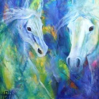 Heste i blåt by Helle Borg Hansen | maleri