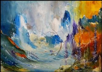 Når vejen falder fo.. by Kurt Olsson | maleri
