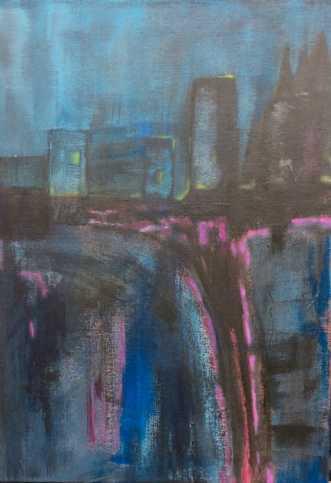 Byen på kanten by Lisa Astrup | maleri