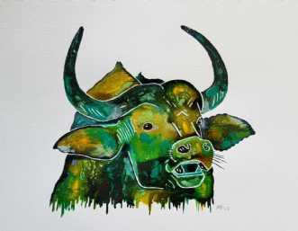 vandbøffel by Maj-Britt Henriksen | maleri
