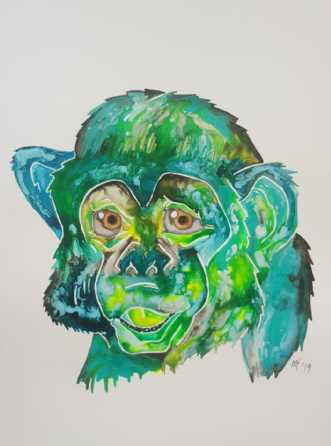 Monkey don´t look s.. by Maj-Britt Henriksen | maleri